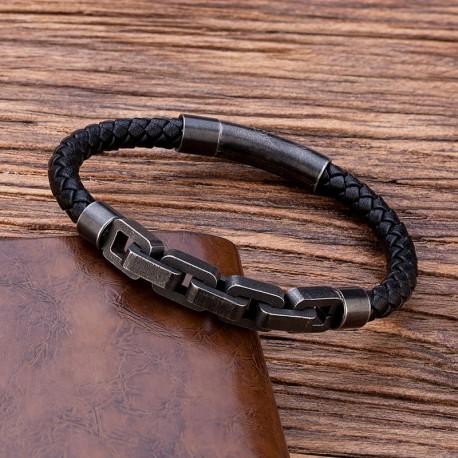 bracelet cuir et acier vieilli