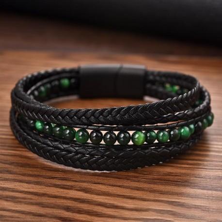 bracelet homme en cuir et perles vertes