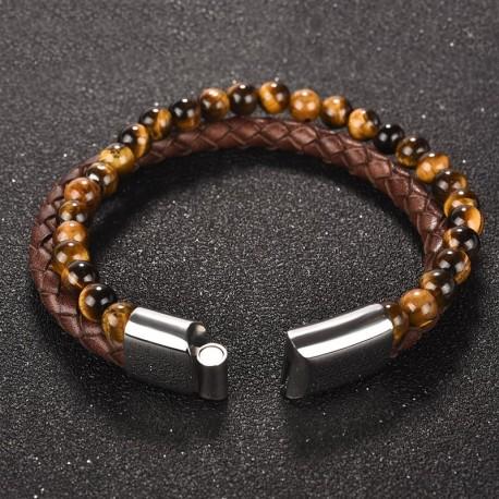 """bracelet cuir marron et perles """"oeil du tigre"""""""