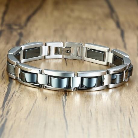 Bracelet homme ajustable hématite et acier