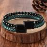 bracelet homme cuir vert et perles vertes