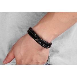 bracelet homme en cuir et piéces inoxydables noires