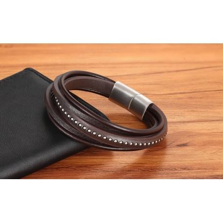 bracelet cuir brun et billes en acier