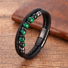 bracelet cuir noir et perles vertes