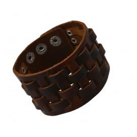 Bracelet de force homme en cuir tressé