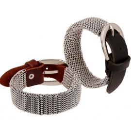 Bracelet homme en cuir avec parure en mailles métalliques