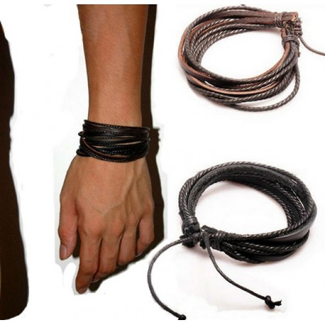 Bracelet homme à lanières et cordon cuir