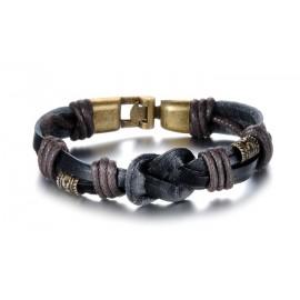 Bracelet homme cuir tissage et nœuds