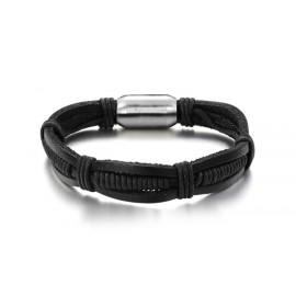 Bracelet cuir noir fermoir aimanté