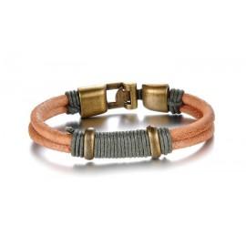 Bracelet homme cuir rond et cordon gris