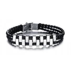 Bracelet 3 liens cuir tressé décor acier