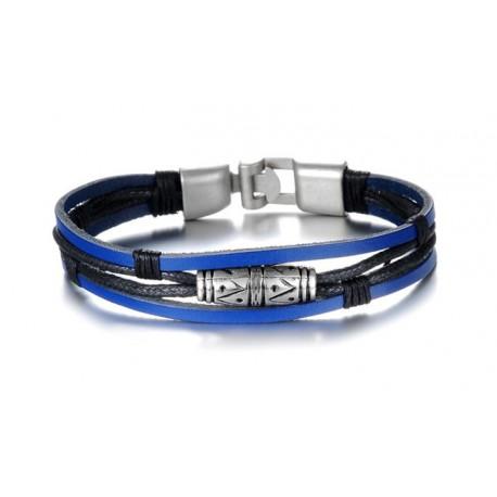 Bracelet lanières cuir bleu électrique