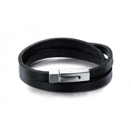 Bracelet cuir noir 3 tours