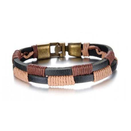 Bracelet homme cuir, cordon en damier