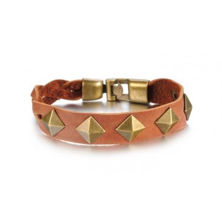 Bracelet cuir naturel clous carrés