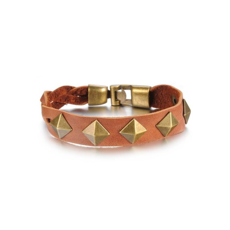 bracelet cuir clous