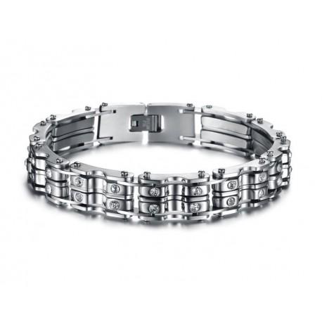 Bracelet homme acier avec pierres en cristal