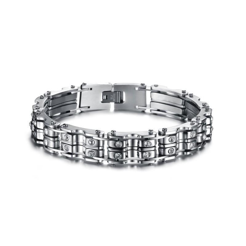 bracelet homme acier avec pierres en cristal bracelets homme. Black Bedroom Furniture Sets. Home Design Ideas