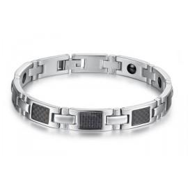 Bracelet homme acier  avec  pierres  magnétiques