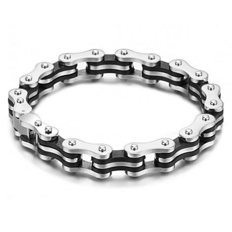 Bracelet homme chaine de vélo acier et silicone