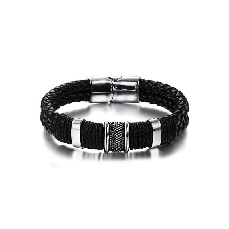 Bracelet homme cuir avec perle