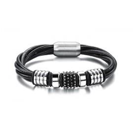 Bracelet cuir décoration acier inox