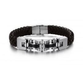 Bracelet homme cuir  noir design massif