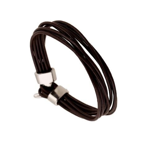 Bracelet homme cuir marron 8 liens