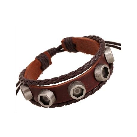 Bracelet homme en cuir style emo