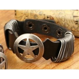 Bracelet cuir grosse étoile pour homme