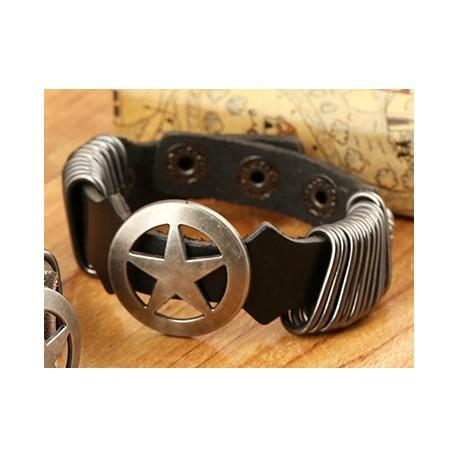 bracelet cuir homme etoile