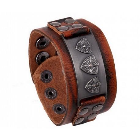 Bracelet de Force Homme Cuir avec plaque ornementale acier