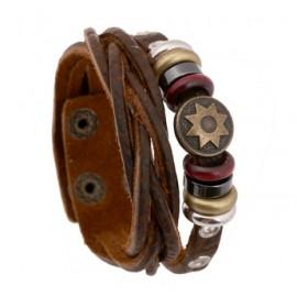 Bracelet homme en cuir et breloques