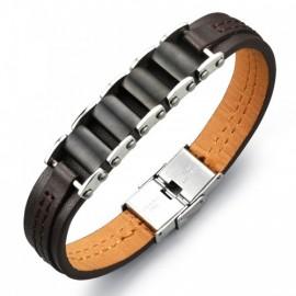 Bracelet  simili cuir et métal 2 tons pour homme