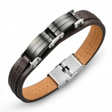Bracelet homme  simili cuir et acier sobre