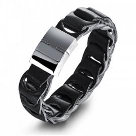 Bracelet homme en cuir noir et fermoir acier