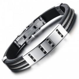 Bracelet homme câble acier et silicone noir
