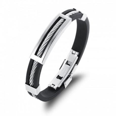 Bracelet en silicone avec câble acier