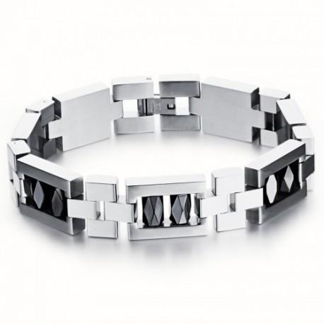 Bracelet articulé inox et ornement hématite