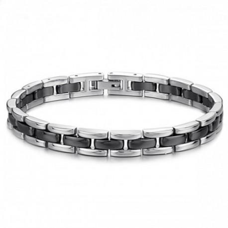 Bracelet homme acier et céramique