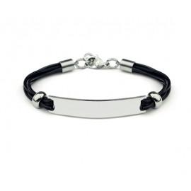 bracelet homme noir à 4 liens