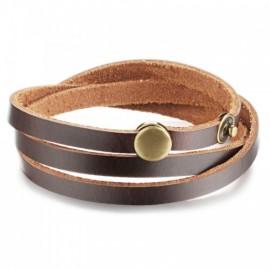 bracelet homme enroulé en cuir marron