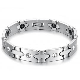 bracelet homme en acier et faux diamants