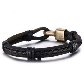 bracelet homme  en cuir tressé