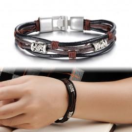 Bracelet cuir marron et noir 4 brins