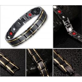 bracelet homme acier noir et pierre magnétiques