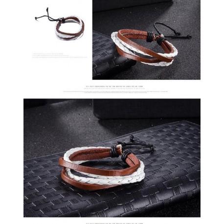 bracelet cuir marron/blanc