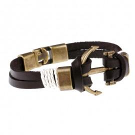 "bracelet cuir marine ancre ""bronze"""