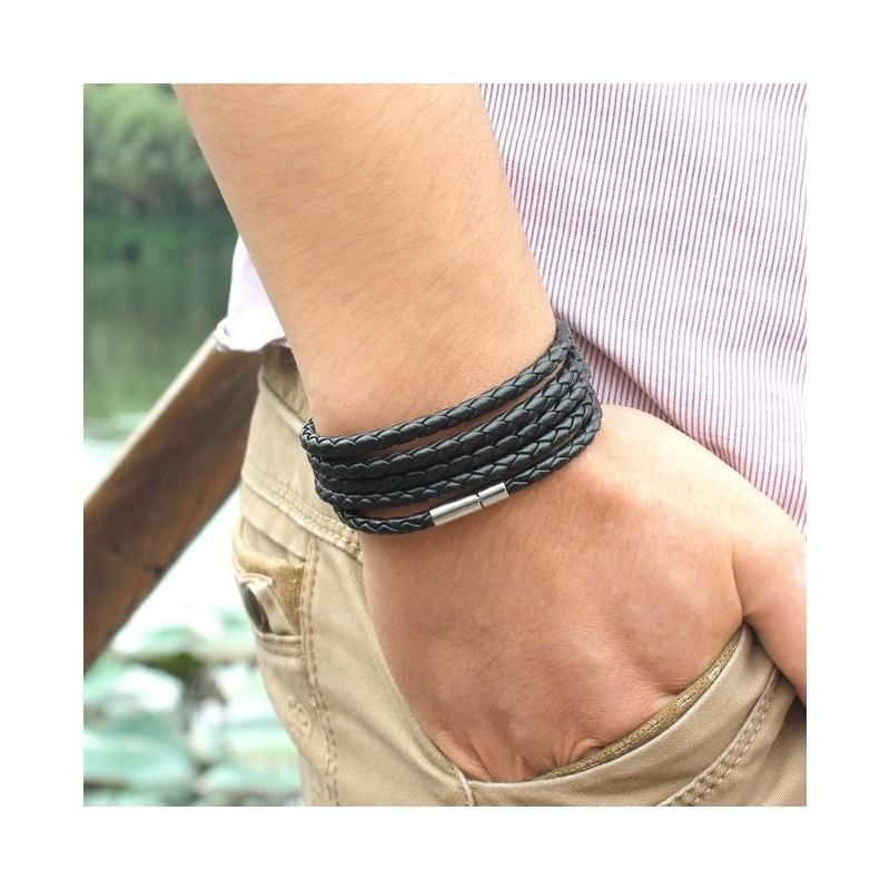 bracelet cuir fin homme