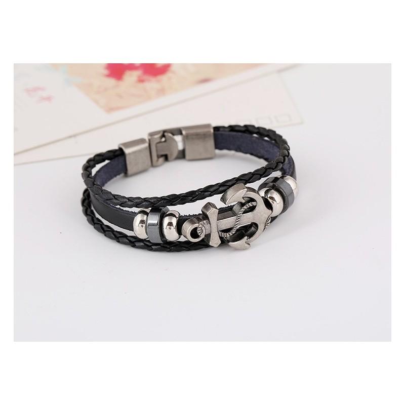 bracelet cuir ancre marine bracelets homme. Black Bedroom Furniture Sets. Home Design Ideas